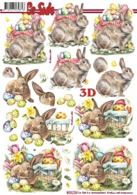 Feuille 3D Osterhase mit Korb - Format A4
