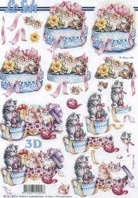 Hojas de 3D Geschenkdose mit Katzen Format A4 - Formato A4