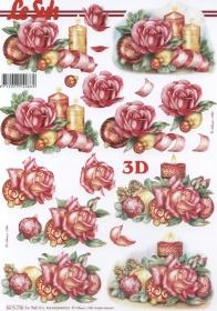 3D Bogen 2x Weih.-Kerze Format A4 - Format A4