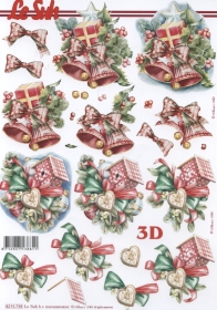 3D Bogen Weih.Glocken+Häuschen Format A4 - Format A4