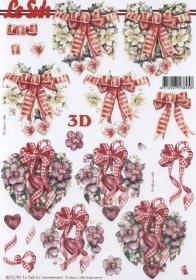 Feuille 3D Weih.Herzen+Schleife Format A4 - Format A4