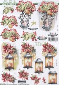 3D Bogen Weih.Laterne+Kerze Format A4 - Format A4