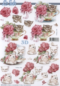 3D sheet Katze+Tasse+Blumen Format A4 - Format A4