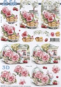Feuille 3D Blumen+Kuchen+Obst Format A4 - Format A4