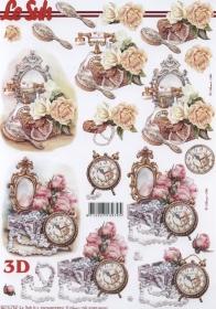 Feuille 3D Uhr+Blumen+Spiegel Format A4 - Format A4