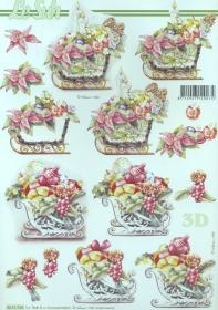 3D Bogen Weihnachtsschlitten - Format A4