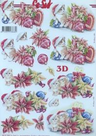 3D sheet Weihnachtskätzchen - Format A4