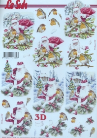 Carta per 3D Weihnachtsmann und Rohkehlchen - Formato A4