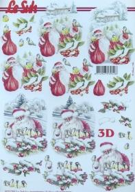 3D sheet Weihnachtsmann und Blaumeise - Format A4