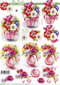 Hojas de 3D Blumen in Vase - Formato A4