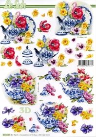 3D sheet Blumen und Geschirr - Format A4