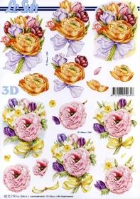 Hojas de 3D Blumen mit Schleife - Formato A4