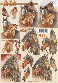 Feuille 3D 5 Pferde - Format A4