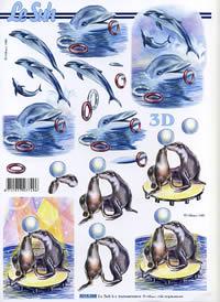 Hojas de 3D Seehund+Delphine - Formato A4