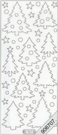 Samt Stickers Tannenbäume 10 x 23 cm - weiß