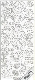 Stickers Flitter Love,Lippe silber - silber