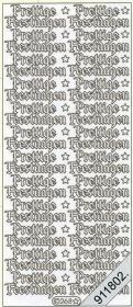 Stickers zum sticken Prettige Feestdagen transp.gold - goud