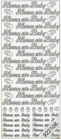Stickers Hurra ein Baby - silver