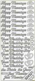 Stickers english - Happy Marriage - Your Wedding Day a.s.m. - gold