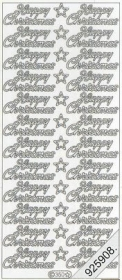 Stickers english - Happy Christmas - silber
