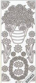 Stickers Blumen in Vase silber - silber