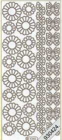 Stickers Blumen und Schmetterlinge silber - silber
