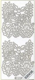 Stickers Blumen mit Vogel silber - silber