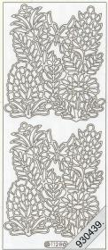 Stickers Blumen+Schmetterling silber - silber