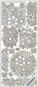 Stickers Blumen silber - silber