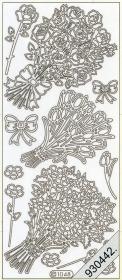 Stickers Blumenstrauß silber - silber
