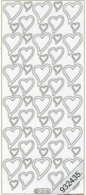 Stickers Herzen silber - silber