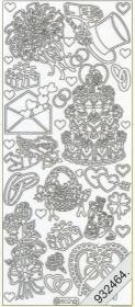 Stickers 0802 - Torte, Hut+Ringe, - silber