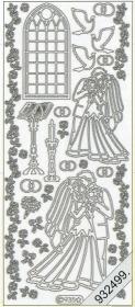 Stickers 0935 - Heiraten in Kirche - silber