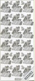 Stickers 0895 - Bibel und Kreuz - silber