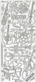 Stickers 0816 - Musikinstrumente - silber