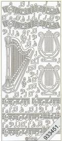 Stickers Harfe+Noten - silber