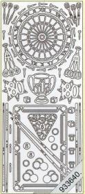 Stickers Dart und Billard silber - silber