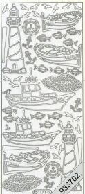 Stickers Leuchtturm+Boot - silber