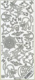 Stickers Helloween Hexe+Fledermaus gold - gold