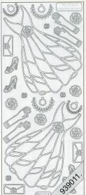 Stickers Brautkleid - silber