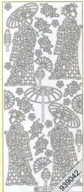 Stickers Chinesische Frau silber - silber