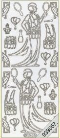 Stickers Dame im Kleid+Spiegel silber - silber