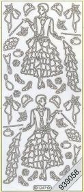 Stickers Dame im Kleid +Hut silber - silber