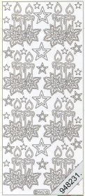 Stickers 0862 - Weihnachtskerze - silber