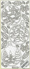 Stickers Winterlandschaft in Kugel silber - silber