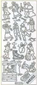 Stickers Schlittschuhlauf silber - silber