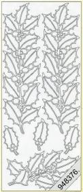 Stickers Stechpalme-Streifen silber - silber
