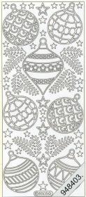 Stickers Weihnachtskugeln silber - silber