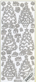 Stickers Weihnachtsbaum silber - silber