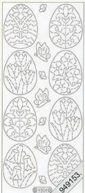 Stickers Ostern-Ei+Blumen silber - silber
